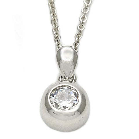 Sterling Silver 10.174.0145.18 Fancy Necklace, with White Cubic Zirconia, Polished Finish, Silver Tone