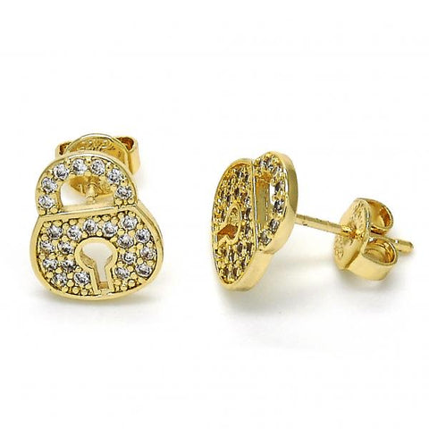 Gold Layered 02.156.0264 Stud Earring, Lock Design, with White Micro Pave, Polished Finish, Golden Tone