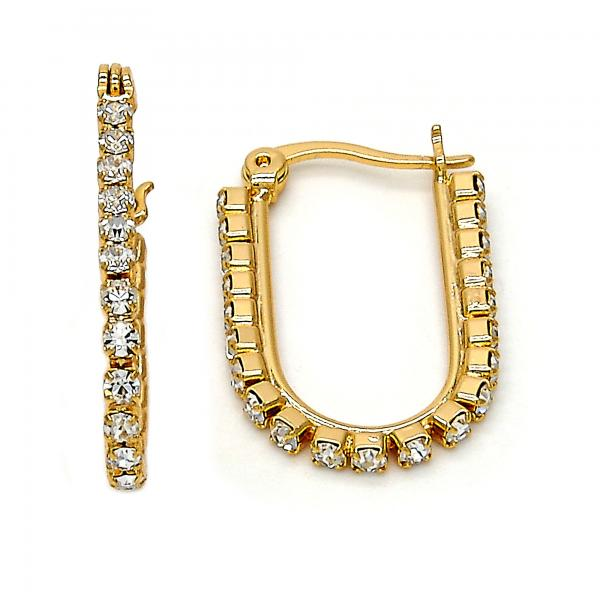 Gold Layered 02.213.0003.15 Small Hoop, with White Crystal, Polished Finish, Golden Tone