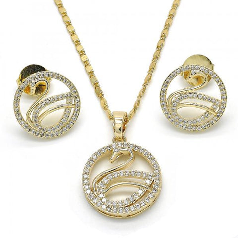 Gold Layered 10.221.0035 Earring and Pendant Adult Set, Swan Design, with White Cubic Zirconia, Polished Finish, Golden Tone