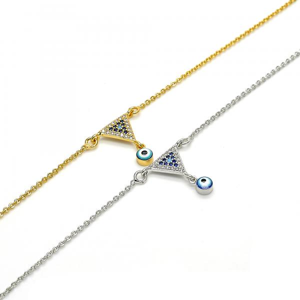Gold Layered Charm Anklet , Greek Eye Design, with Micro Pave, Golden Tone