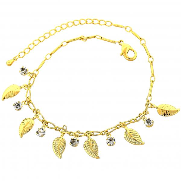 Gold Layered 03.63.1292.08 Charm Bracelet, Leaf Design, with White Cubic Zirconia, Polished Finish, Golden Tone