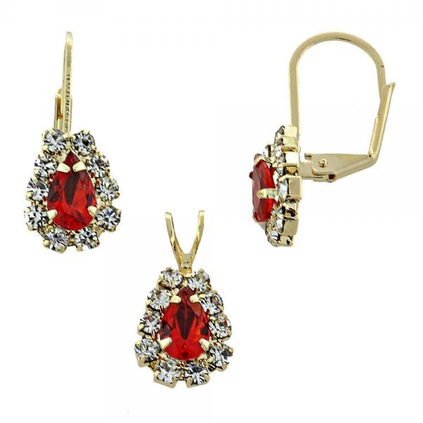 Gold Layered 5.056.016 Earring and Pendant Adult Set, with  Cubic Zirconia, Golden Tone