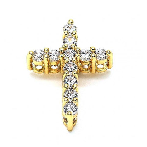 Gold Layered 05.156.0064 Religious Pendant, Cross Design, with  Cubic Zirconia, Golden Tone