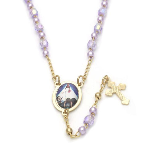 Gold Layered 09.02.0024.18 Thin Rosary, Caridad del Cobre and Cross Design, with Lavender Crystal, Polished Finish, Golden Tone