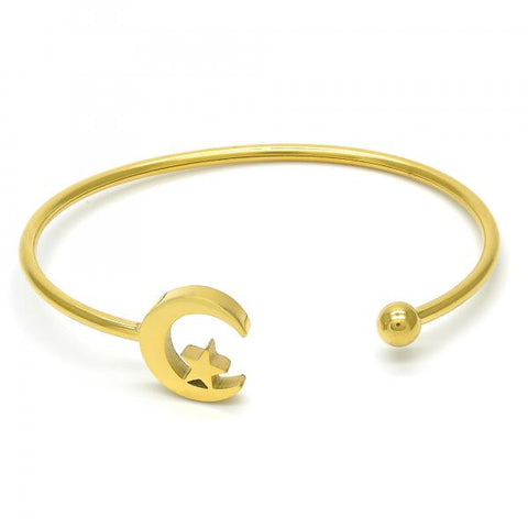 Stainless Steel 07.265.0010 Individual Bangle, Moon and Star Design, Polished Finish, Golden Tone (03 MM Thickness, One size fits all)