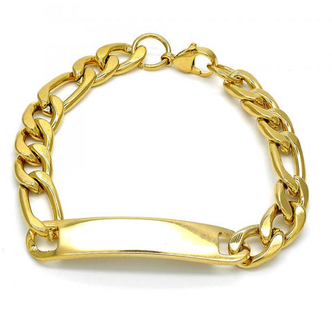 Stainless Steel 03.269.0007.08 ID Bracelet, Polished Finish, Golden Tone