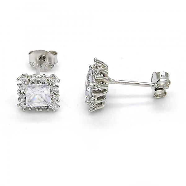 Sterling Silver 02.285.0065 Stud Earring, with White Cubic Zirconia, Polished Finish,