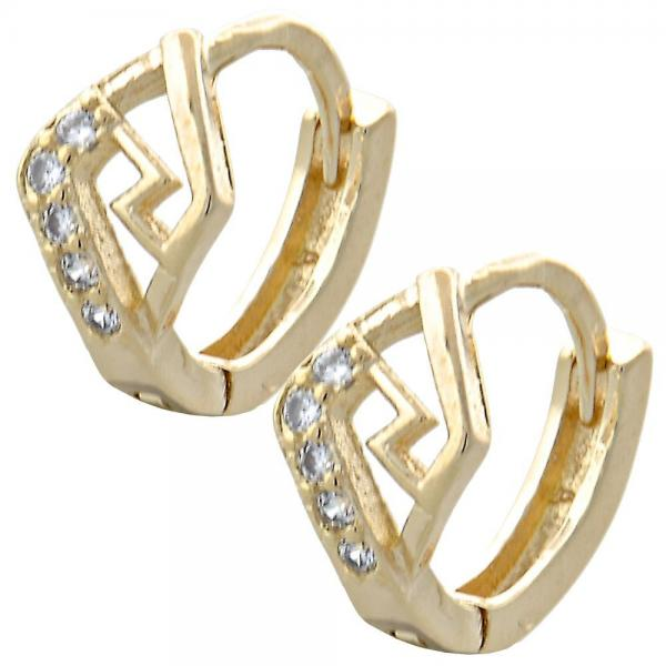 Gold Layered 02.155.0020 Huggie Hoop, with White Cubic Zirconia, Polished Finish, Golden Tone