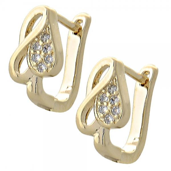 Gold Layered 02.155.0024 Huggie Hoop, Heart Design, with White Micro Pave, Polished Finish, Golden Tone