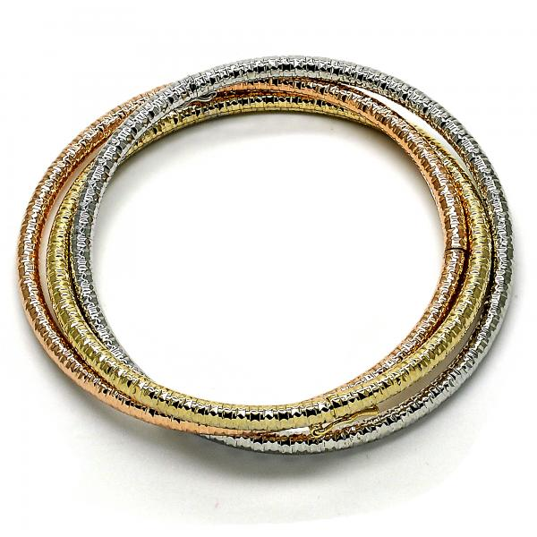 Gold Layered 07.65.0186.05 Trio Bangle, Hollow Design, Diamond Cutting Finish, Tri Tone (04 MM Thickness, Size 5 - 2.50 Diameter)