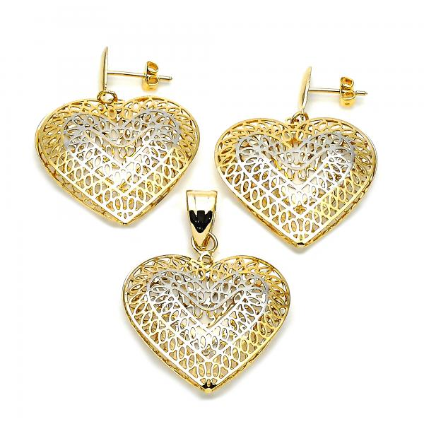 Gold Layered 5.050.003 Earring and Pendant Adult Set, Heart Design, Tri Tone
