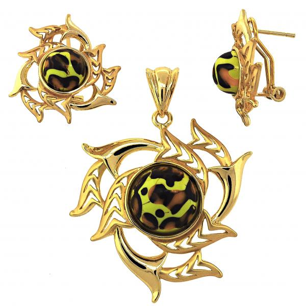 Gold Layered 10.91.0321 Earring and Pendant Adult Set, with  Opal, Matte Finish, Golden Tone
