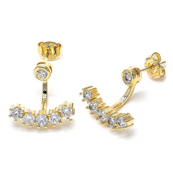 Gold Layered 02.156.0178 Dangle Earring, with White Crystal and White Cubic Zirconia, Polished Finish, Golden Tone
