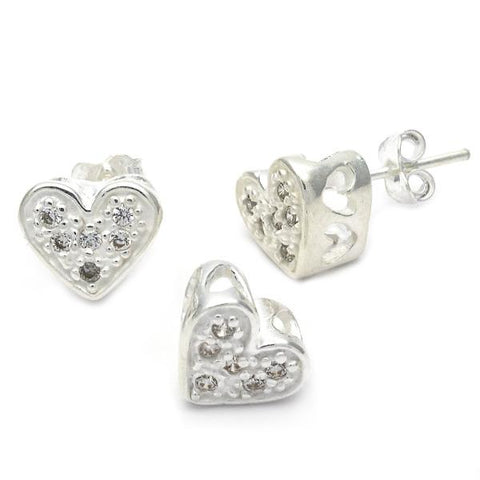 Sterling Silver 10.166.0017 Earring and Pendant Adult Set, Heart Design, with White Cubic Zirconia, Silver Tone