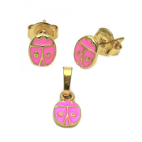 Gold Layered 10.64.0154 Earring and Pendant Children Set, Ladybug Design, Enamel Finish, Golden Tone