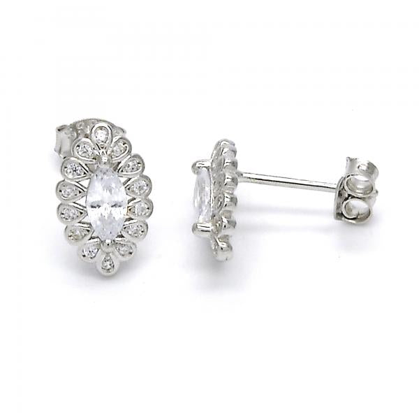 Sterling Silver 02.285.0037 Stud Earring, with White Cubic Zirconia, Polished Finish,