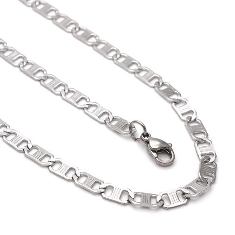 Stainless Steel 04.113.0050.24 Necklace and Bracelet, Mariner Design, Steel Tone