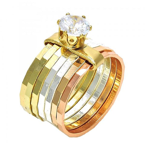 Gold Layered Elegant Ring, Semanario Design, with Cubic Zirconia, Tri Tone