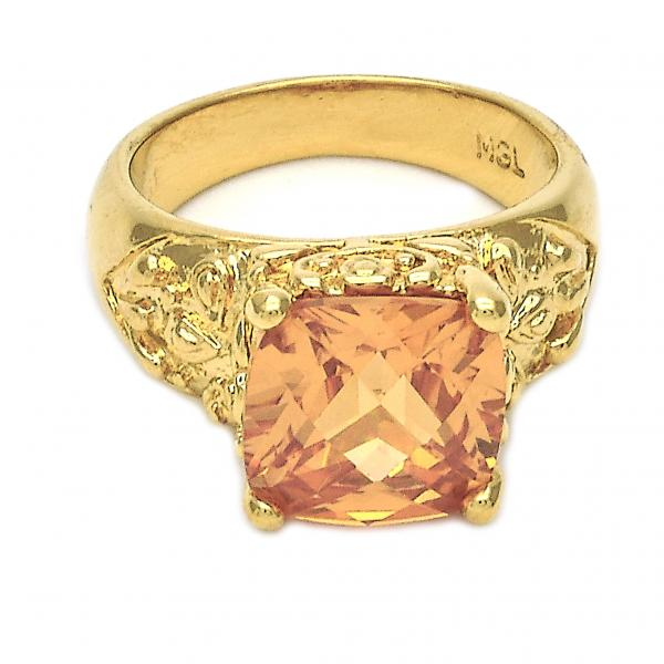 Gold Layered Elegant Ring, with Cubic Zirconia, Golden Tone