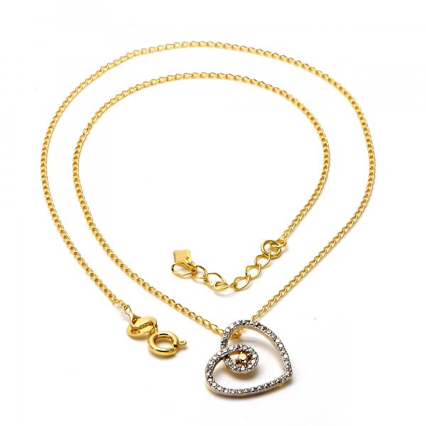 Gold Layered 04.09.0048.18 Pendant Necklace, Heart Design, Matte Finish, Two Tone
