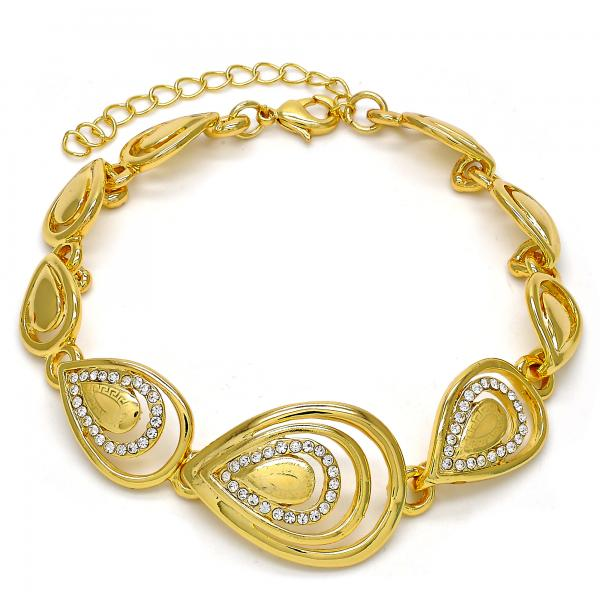 Gold Layered 03.241.0003.08 Fancy Bracelet, Teardrop and Greek Key Design, with White Crystal, Polished Finish, Golden Tone