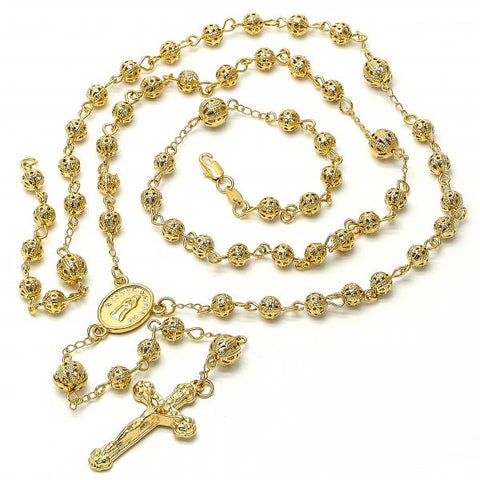 Gold Layered 5.210.006.30 Large Rosary, Crucifix Design, Diamond Cutting Finish, Golden Tone