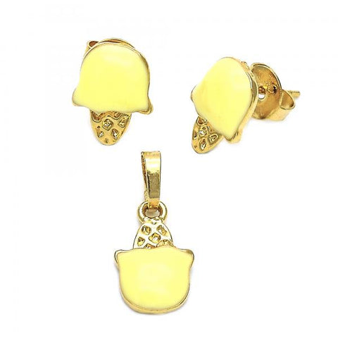 Gold Layered 10.64.0091 Earring and Pendant Children Set, Ice Cream Design, Enamel Finish, Golden Tone