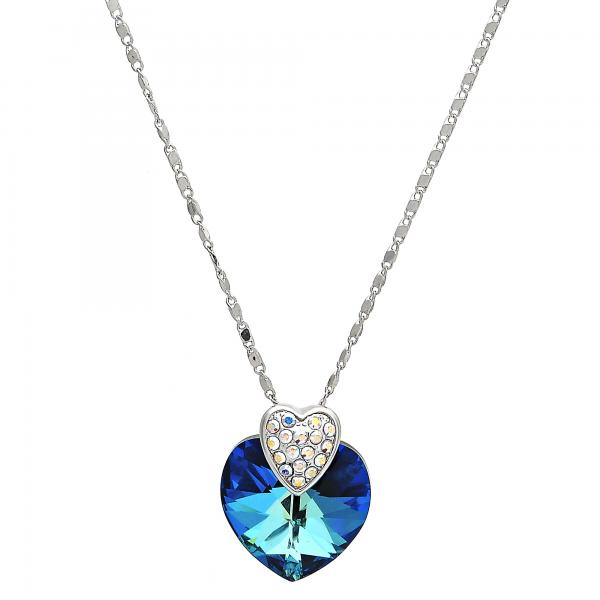 Gold Layered 04.239.0005.16 Fancy Necklace, Heart and Pave Mariner Design, with Bermuda Blue Swarovski Crystals and White Crystal, Polished Finish, Rhodium Tone