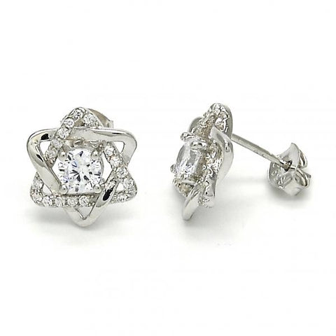 Sterling Silver 02.285.0070 Stud Earring, with White Cubic Zirconia, Polished Finish,