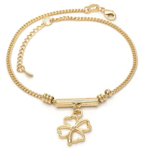 Gold Layered 03.32.0096.10 Charm Anklet , Four-leaf Clover Design, Polished Finish, Golden Tone