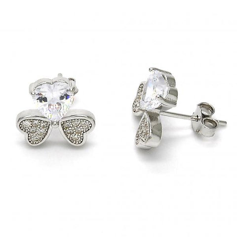 Sterling Silver 02.175.0104 Stud Earring, Heart Design, with White Cubic Zirconia and White Micro Pave, Polished Finish, Rhodium Tone