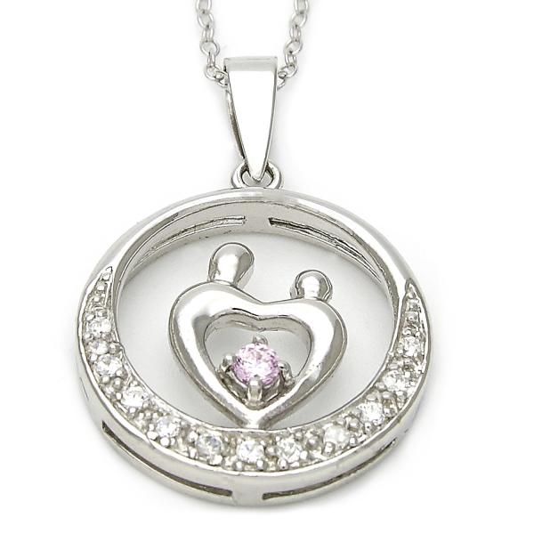 Sterling Silver 10.174.0164.18 Fancy Necklace, Heart Design, with Light Rhodolite and White Cubic Zirconia, Polished Finish, Silver Tone