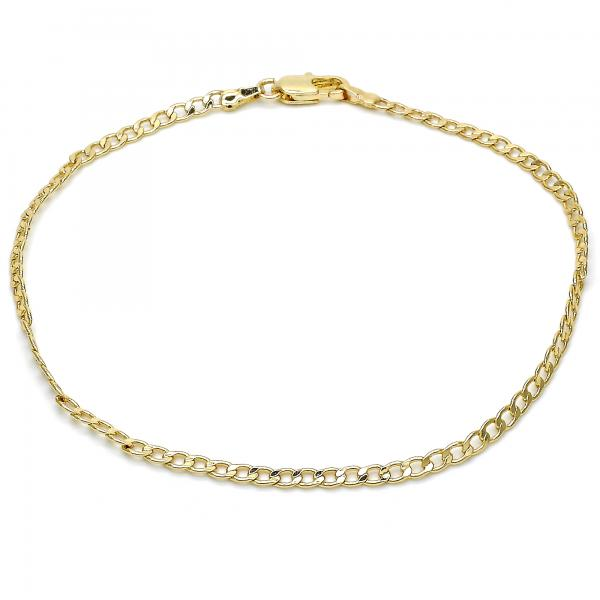 Gold Layered 03.63.1844.10 Basic Anklet, Curb Design, Polished Finish, Golden Tone
