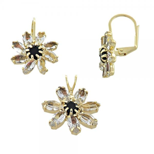 Gold Layered 5.056.001 Earring and Pendant Adult Set, Flower Design, with  Cubic Zirconia, Golden Tone