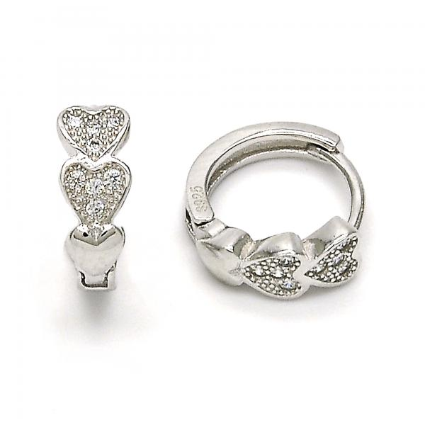Sterling Silver 02.174.0047.15 Huggie Hoop, Heart Design, with White Micro Pave, Polished Finish, Rhodium Tone