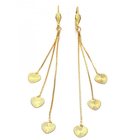 Gold Layered 02.63.0627 Long Earring, Heart and Long Box Design, Diamond Cutting Finish, Golden Tone