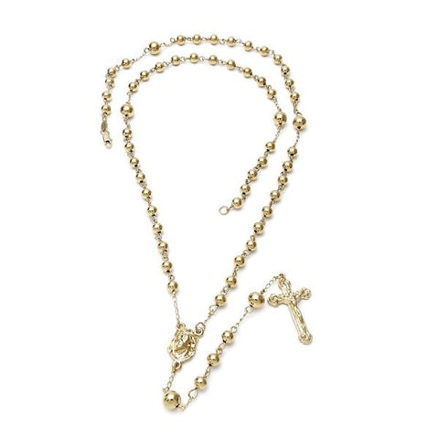 Gold Layered 5.210.002 Large Rosary, Jesus and Crucifix Design, Diamond Cutting Finish, Golden Tone
