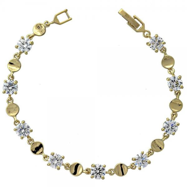 Gold Layered 5.029.011 Fancy Bracelet, with White Cubic Zirconia, Polished Finish, Golden Tone