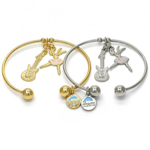 Gold Layered Individual Bangle, Guitar and Dolphin Design, Golden Tone