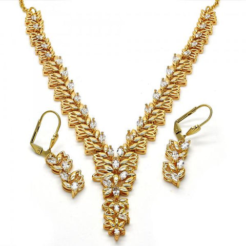 Gold Layered 06.236.0007 Necklace and Earring, Leaf Design, with White Cubic Zirconia, Polished Finish, Golden Tone