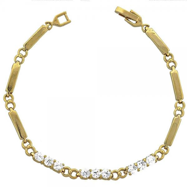 Gold Layered 03.63.0218 Tennis Bracelet, with White Cubic Zirconia, Polished Finish, Golden Tone