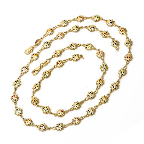 Gold Layered 04.63.1207 Necklace and Anklet, with Multicolor Crystal, Polished Finish, Golden Tone