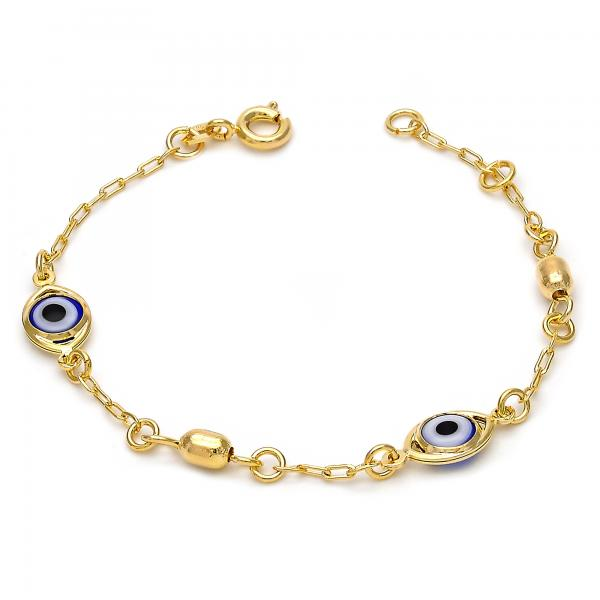 Gold Layered 03.02.0043.06 Fancy Bracelet, Heart and Greek Eye Design, with Multicolor Opal, Polished Finish, Golden Tone