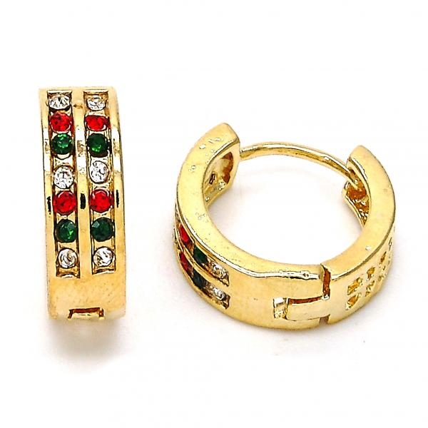 Gold Layered 02.165.0137.6.15 Huggie Hoop, with Multicolor Crystal, Polished Finish, Golden Tone