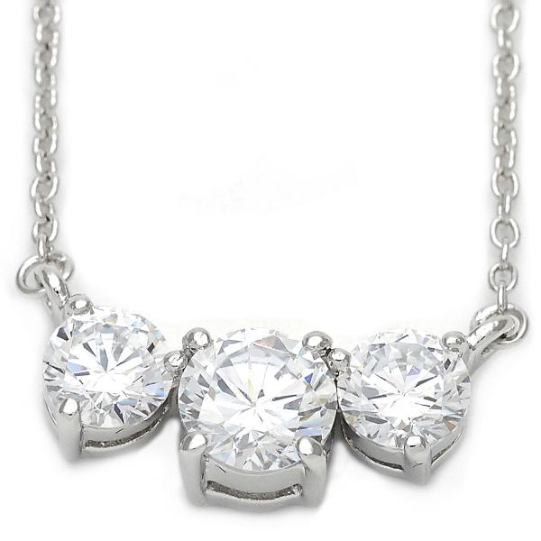 Sterling Silver 10.174.0146.18 Fancy Necklace, with White Cubic Zirconia, Polished Finish, Silver Tone