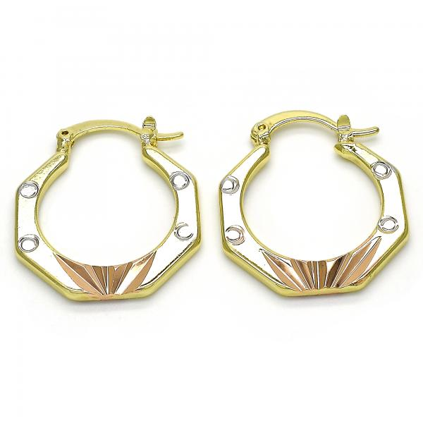 Gold Layered 02.102.0055.25 Small Hoop, Diamond Cutting Finish, Tri Tone