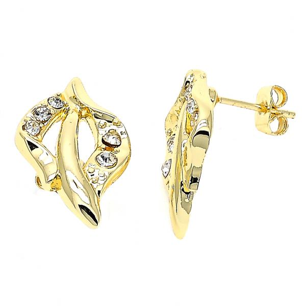 Gold Layered 02.59.0028 Stud Earring, Leaf Design, with White Crystal, Polished Finish, Golden Tone