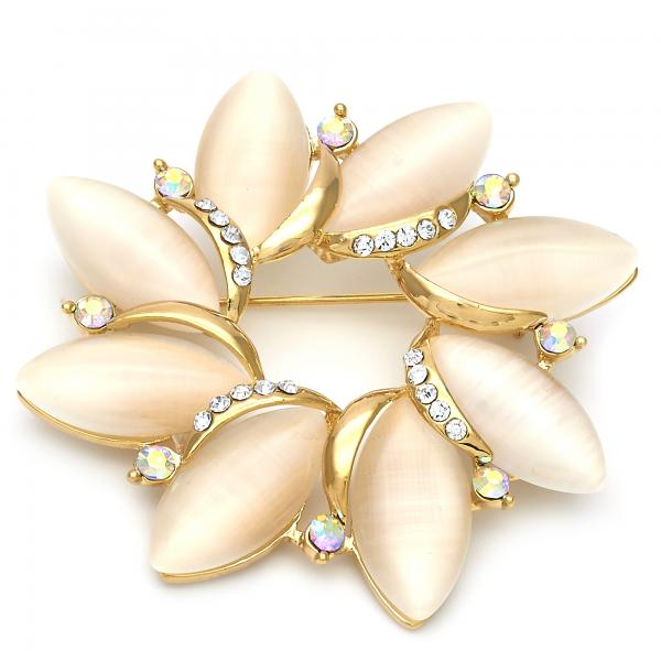 Gold Layered Basic Brooche, Flower Design, with Opal and Crystal, Golden Tone