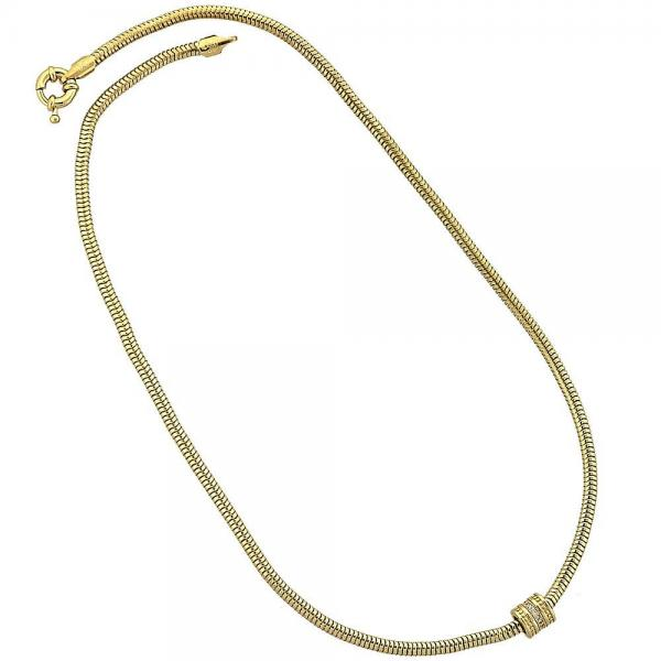 Gold Layered 04.63.0006 Pendant Necklace, Rat Tail Design, with White Micro Pave, Polished Finish, Golden Tone